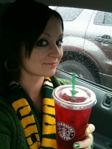 Crazy Tea Chick with her Starbucks Iced Passion Tea