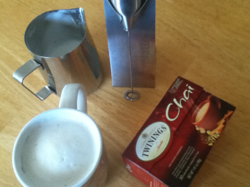 Frother and Stand, Espresso Pitcher, and Twinings Chai Tea